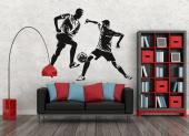 Sport Wall Stickers - Wall decals for sports lovers! Show how competitive you are, both in sports and in life, with this sticker with the silhouettes of two players, each s...