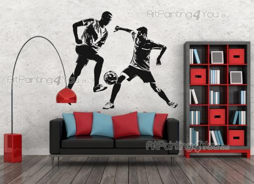 Soccer Players - Wall decals for sports lovers! Show how competitive you are, both in sports and in life, with this sticker with the silhouettes of two players, each struggling to hit the ball first.