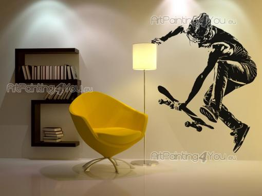 Sport Wall Stickers - Wall stickers for urban sports lovers! Decorate your bedroom with decals that stand out for your personal tastes. Here's a silhouette of a skater perf...
