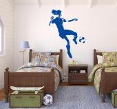 Wall decals with a female soccer player.