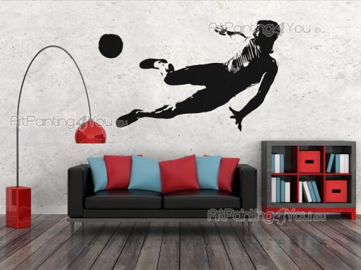 Soccer Player - Wall stickers for sporty bedrooms! Football is all about teamwork, speed, endurance and tactics. Show what kind of technique you like the most with decals like this, with a flexible player stretching out in the air to kick a ball!