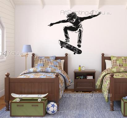 Sport Wall Stickers - Wall stickers for room decoration. Do you feel free when you're on a skateboard or a few inches above it? Make a statement on your bedroom with decals...