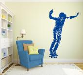 Skateboarder - Wall decals for skaters! If you're into skateboarding, personalize your room with a sticker of a skater getting ready to perform a new trick. How many tricks do you know and which one do you expect him to perform?
