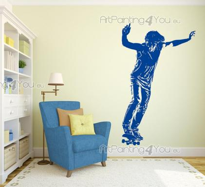 Sport Wall Stickers - Wall decals for skaters! If you're into skateboarding, personalize your room with a sticker of a skater getting ready to perform a new trick. How many...