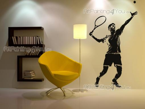 Sport Wall Stickers - Wall stickers for sports lovers! Give a personal touch to your bedroom with decals for appliance in walls and doors. This silhouette of a tennis playe...