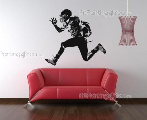 Sport Wall Stickers - Wall decals for sports-lovers. Customize your room using a sticker with the silhouette of an american football player, a fast halfback running towards...