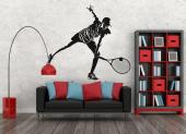 Tennis Player - Wall stickers for lovers of sports! Are you a fan and player of tennis? Then customise your bedroom with a decal featuring an exclusive silhouette of a tennis player returning a ball with a stylish racket.