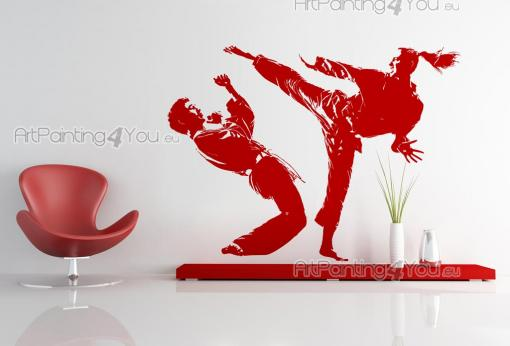 Sport Wall Stickers - Sport-themed wall decals! If you're into martial arts, get motivated with a sticker with the silhouettes of two judo/karate players during a match. Ki...
