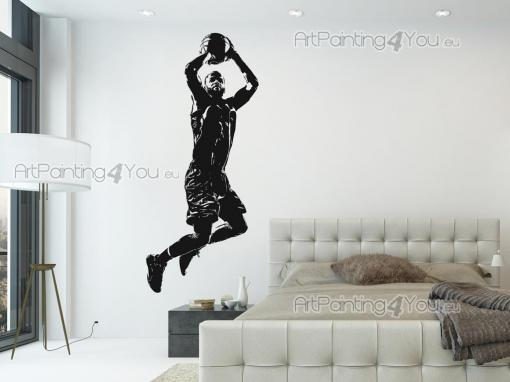 Sport Wall Stickers - Wall stickers on sports for your room! Show your love for basketball with exclusive silhouette decals like this one, with a player stretching out, abo...