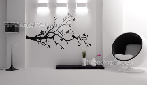 Wall Stickers - Beautiful wall decals. Decorate a wall with this romantic sticker with a silhouette of a large tree branch where a bird tries to seduce a mate by sing...