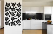 Abstract Flowers - It's time to liven up the decor with a silhouette wall decal set of pretty flowers and their leaves. Apply on a kitchen or living room wall the fourteen sticker flowers and create a pleasant flower pattern.