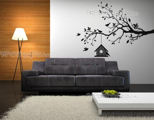 Wall Stickers - Use our wall decals to warm up your bedroom or living room. These silhouettes feature a family of birds and their birdhouse hanging from a branch of t...