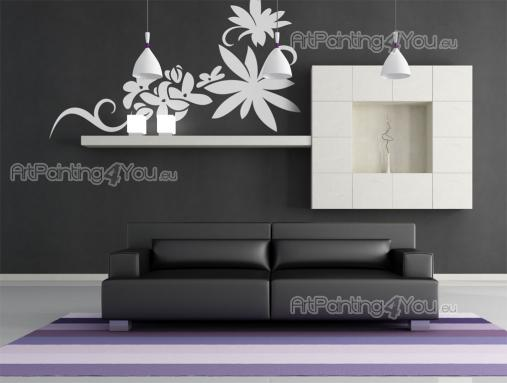 Floral Wall Stickers - Silhouette wall decals to decorate any room! If there is a blank space on a living room wall that bothers you, then try covering it with a floral stic...