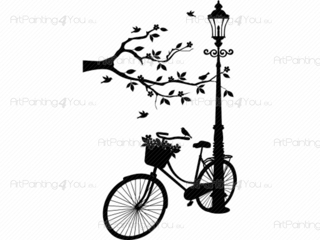 Bicycle & Flowers - Cities & Travel Wall Decals