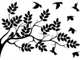 Tree & Birds - Wall decal with perfect silhouettes for a bedroom. Several birds are returning to their tree branch for a good night of sleep, just as we do after a long day out.