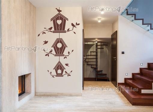 Wall Stickers - Wall stickers! Would you rather build a birdhouse outside than have your own bird inside a cage? This trio of wooden birdhouses will give any room the...
