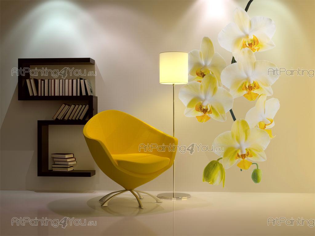 Muurstickers bloemen orchidee geel (2542nl)