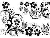 Floral Wall Stickers - Wall stickers for a floral decor. Give your living room a touch of tropical freshness with this set of decals featurings hibiscus flowers and some twi...