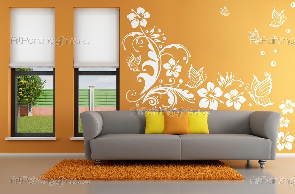 Wall Stickers Hibiscus Flowers And Butterflies Artpainting4youeu