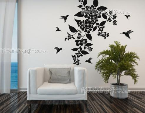 Floral Wall Stickers - Floral wall stickers. Add to the decoration of your living room or office these lovely decals with a portal to a mystical forest where tiny hummingbir...