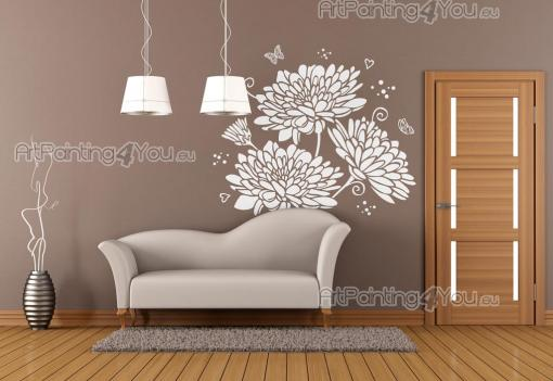 Floral Wall Stickers - Floral-themed wall decals. Start a garden on the walls of your living room with exquisite dahlias shrouded in an atmosphere of morning freshness and b...