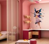 Girls Wall Stickers Princesses & Fairies - The night comes and a dark-haired fairy with lively blue and purple wings dedicates a dance to the moon. Decorate the bedroom of a younger or older gi...