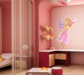 Girls Wall Stickers Princesses & Fairies - There are so many different kinds of fairies! The wall decal above shows us a blonde fairy with multiple wings shaped like long petals and a dress mad...