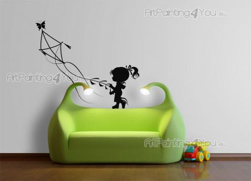 Wall Stickers for Kids - Kites are a symbol of freedom. If you just let them, they'll fly! Apply on a wall of an imaginative kid's bedroom this silhouette decal with a little ...