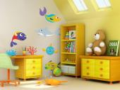 Under the Sea Wall Stickers Nursery - Let's explore the seas! Add a pinch of colour to the kids room decor with this kit of wall decals with five different fishes, such as the wrasse and t...