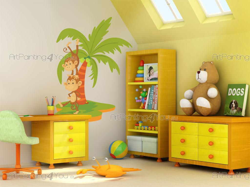 Wandtattoo & Wandsticker Kinderzimmer Affen Dschungel (996de)