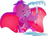 Jungle Wall Stickers for Kids - Is your baby or kid playful and extrovert? Decorate the nursery or kid room with this jolly wall decal of a pink and purple baby elephant using its tr...