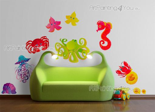 Under the Sea Wall Stickers Nursery - Sea wall decals! Bring the ocean breeze to the baby or kids room by applying the bright-coloured stickers in this kit on walls and pieces of furniture...
