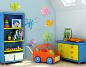 Under the Sea Wall Stickers Nursery - Turn a wall of the baby or kids room into a marine view with these stickers. The wall decals kit includes six little fishes, each presented in a diffe...