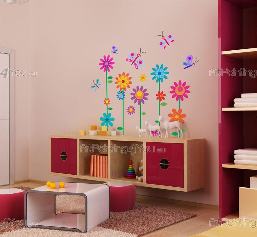 wandtattoo wandsticker kinderzimmer blumen schmetterlinge kit 1009de. Black Bedroom Furniture Sets. Home Design Ideas