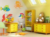 Under the Sea Wall Stickers Nursery - Go on an underwater trip with the help of a kit of wall decals! Apply on a wall of the baby or kid room these colourful fishes, a cheeky octopus and a...