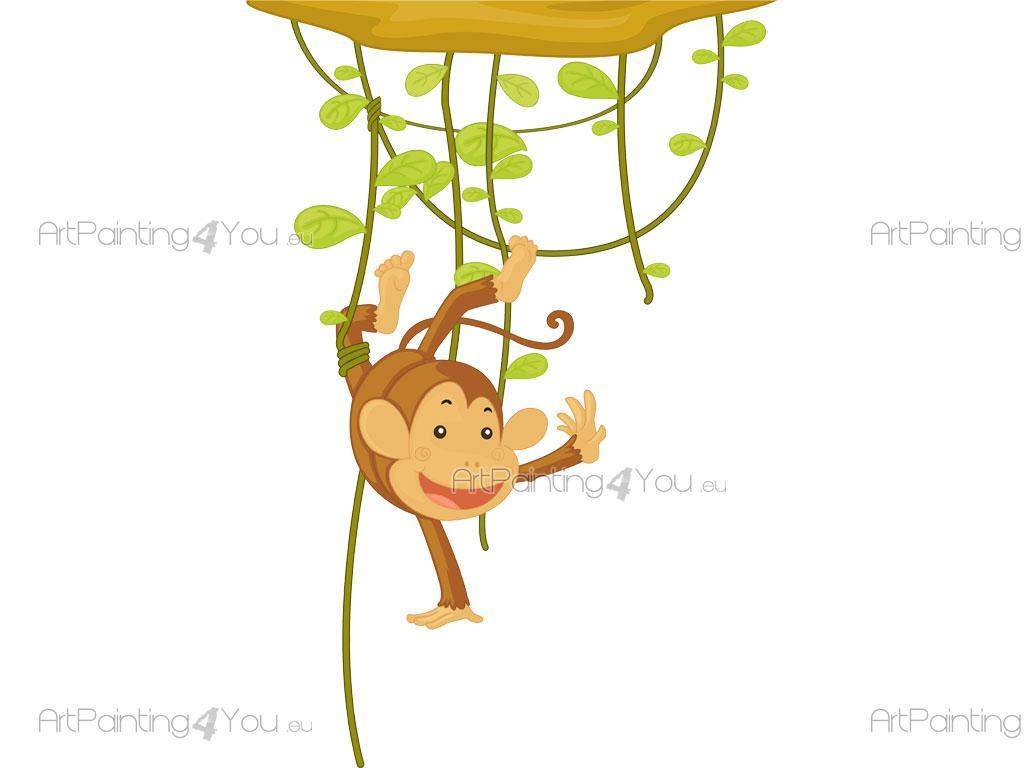 Wandtattoo & Wandsticker Kinderzimmer Affen Dschungel (1168de)