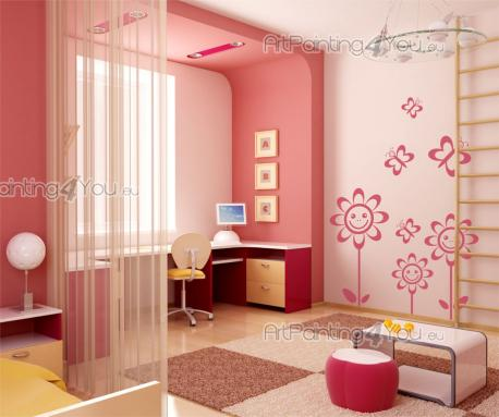Wall Stickers for Kids - The meadows are the home to many pretty flowers and insects. Bring some floral joy into the children's room with this kit of wall decals for kids. Loo...