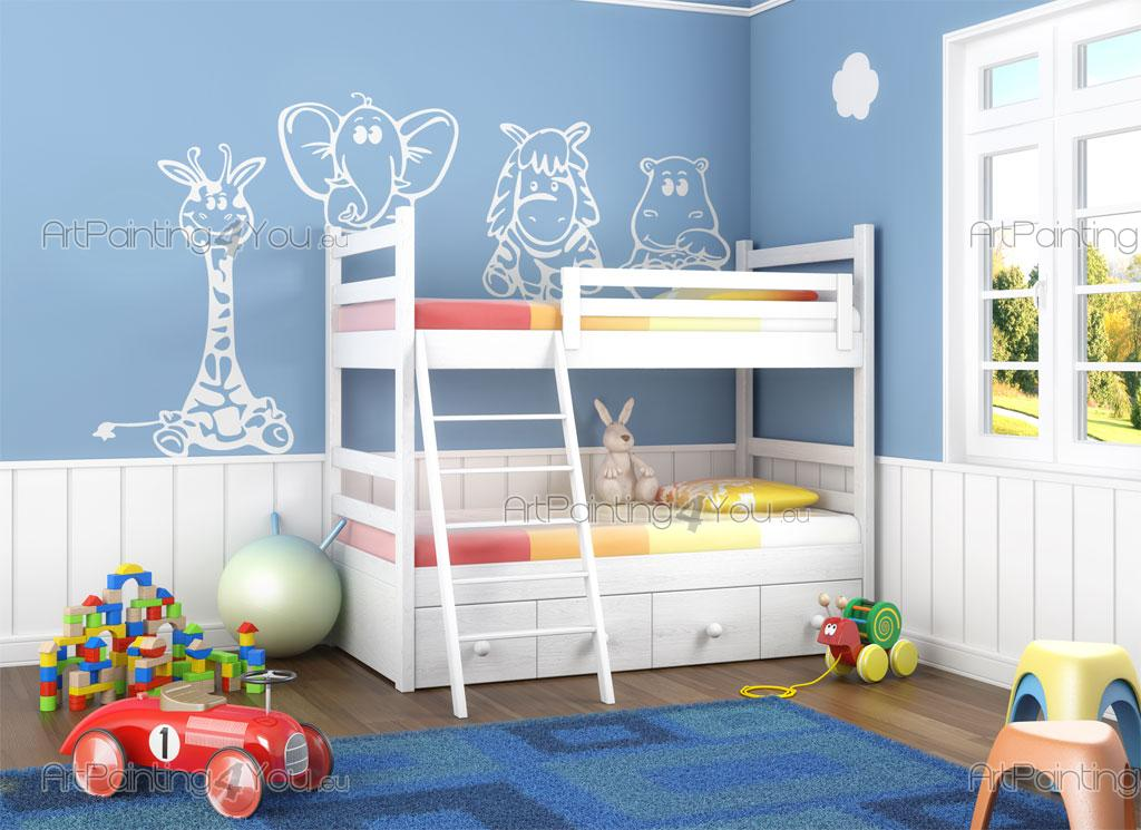 Stickers muraux chambre enfant animaux jungle girafe kit for Stickers elephant chambre bebe