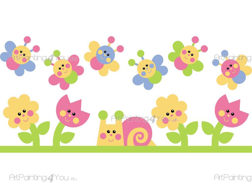 Vinilos infantiles flores mariposas kit 1211es - Cenefas de papel infantiles ...