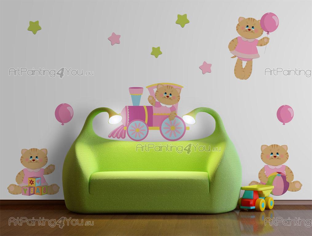 Adesivi murali bambini gatti kit vdi1080it for Adesivi murali x bambini