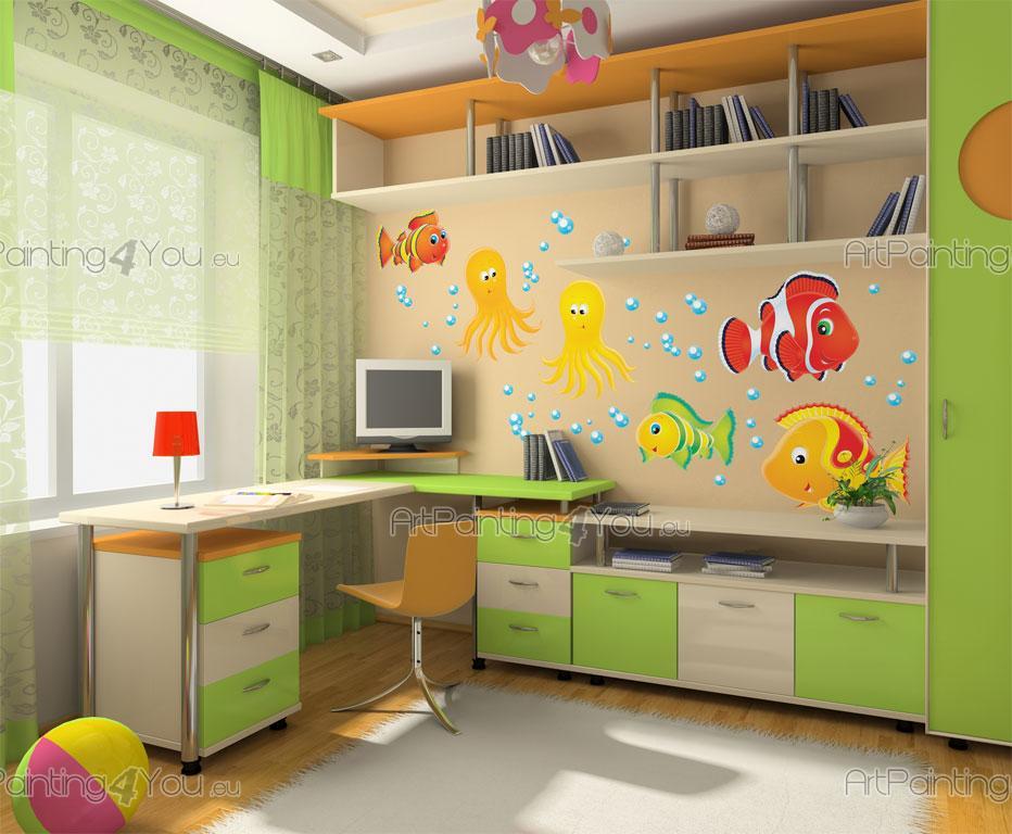 wandtattoo wandsticker kinderzimmer fische meerestiere kit 1327de. Black Bedroom Furniture Sets. Home Design Ideas