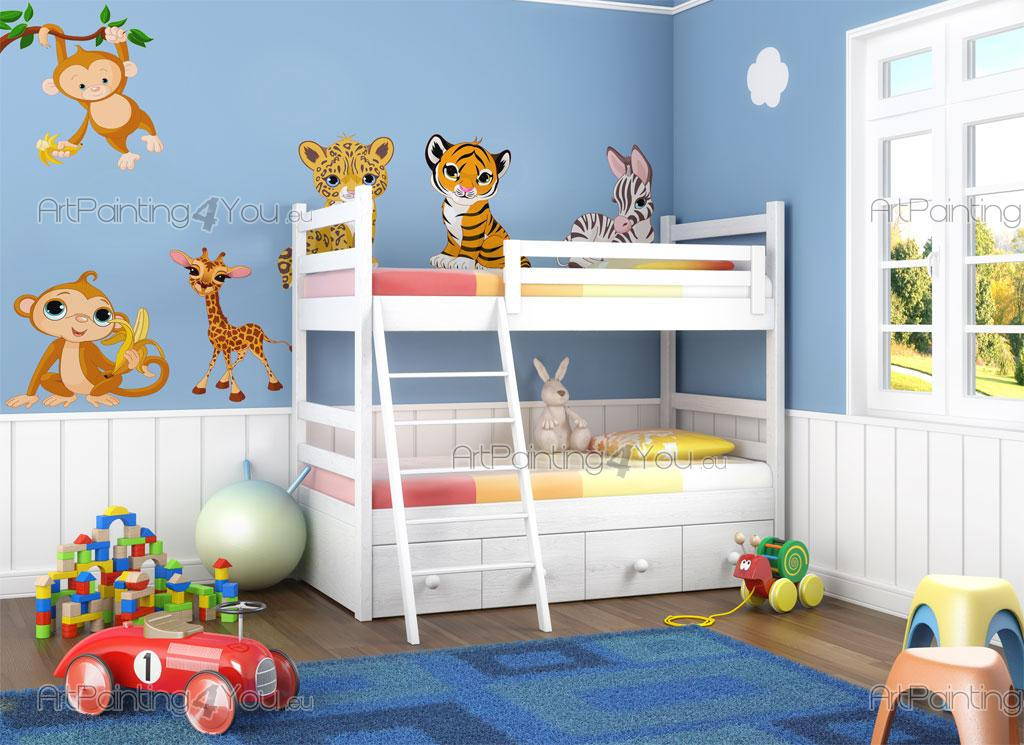 wandtattoo wandsticker kinderzimmer safari tiere dschungel kit 1359de. Black Bedroom Furniture Sets. Home Design Ideas