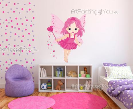 Girls Wall Stickers Princesses & Fairies - Turn the room of your baby or little girl into an area as sweet as candy! Apply above the cradle or the headboard this wall decal of a cute fairy with...