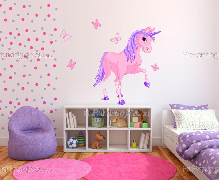 Stickers muraux chambre fille licorne kit for Stickers fille chambre
