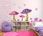 Wall decals for baby and kids rooms. Turn your little girl's bedroom into a fantasy garden with this kit of stickers in shades of golden brown, pink and purple. Apply on walls and furniture these mushrooms-houses, flowers and delicate butterflies.