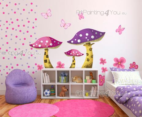 Wall Stickers for Kids - Wall decals for baby and kids rooms. Turn your little girl's bedroom into a fantasy garden with this kit of stickers in shades of golden brown, pink a...