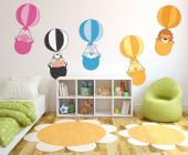 Jungle Wall Stickers for Kids - Jungle wall decals! Turn the baby or kid room into a cozy meeting spot for humans and animals. Apply these colourful hot air balloons on a wall and in...