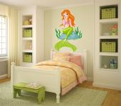 Under the Sea Wall Stickers Nursery - Wall decals for kids who love the sea and fairy tales! Apply on a plain wall this colourful sticker of a red-haired mermaid with a green tail who's si...