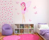Pretty Fairy & Butterflies (Kit) - Girls Wall Decals Princesses & Fairies