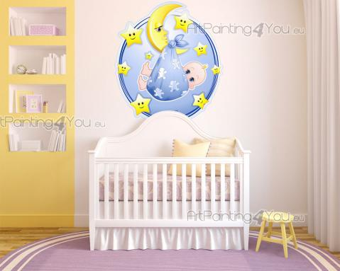 Wall Stickers for Kids - Wall stickers for Kids. Welcome your infant to the world by decorating the nursery or baby room with a sweet decal of a crescent moon holding a baby b...